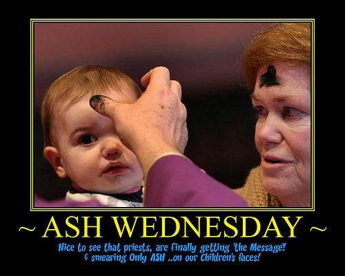 Ash Wednesday Priest smearing ash instead of his spermon little child